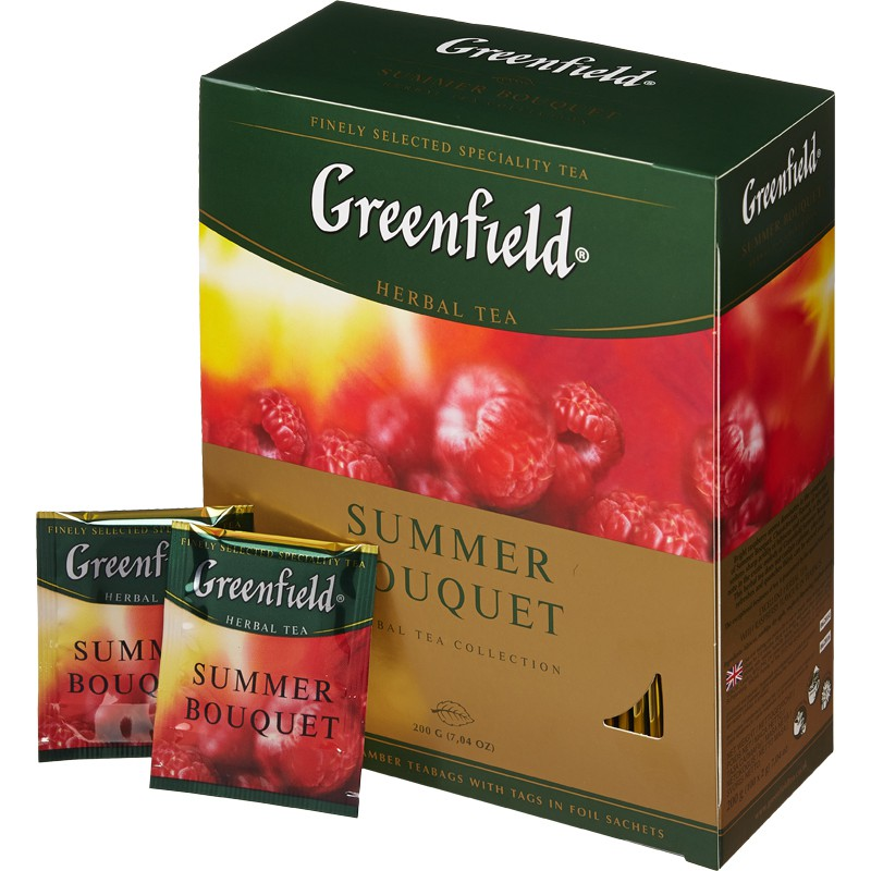 Чай черный Гринфилд травяной со вкусом малины 100 пак.